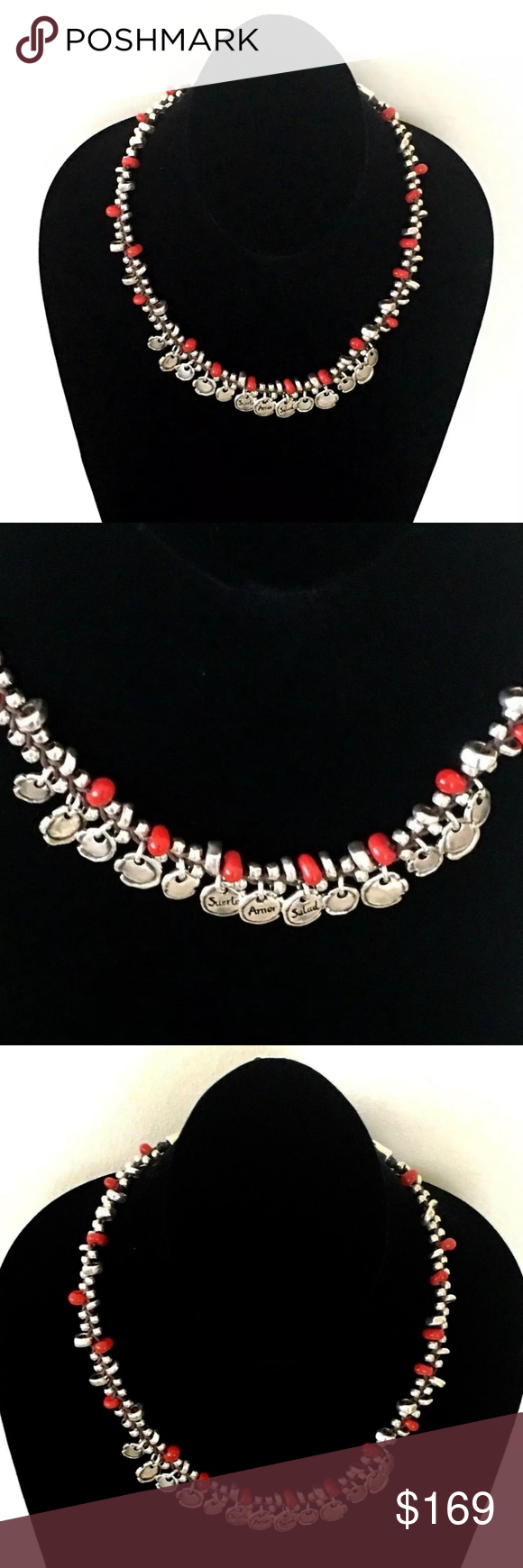 """NWT! Uno de 50 Necklace """"Hot Marking"""" COL1203. UNO de 50 Necklace.  """"Hot Marking"""" COL1203.  Uno de 50 short necklace kind choker made with small handmade glass beads in red color and silver-plated. It has several pieces with an original seal shaped and silver-plated design, and with engraved messages in Spanish """"Suerte, Amor y Salud"""" """"Luck, Love and Health"""".  Length: 16"""" up to 17.5"""".  Retail: $200.00.  Spectacular piece handcrafted in Spain!!!. UNO de 50 Jewelry Necklaces"""