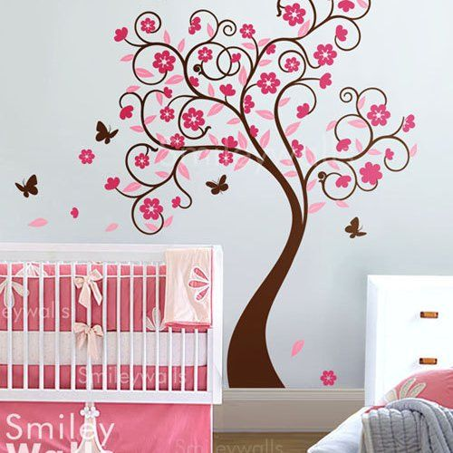 Cherry Blossom Flower Tree With Butterflies Nursery Vinyl Wall Decal
