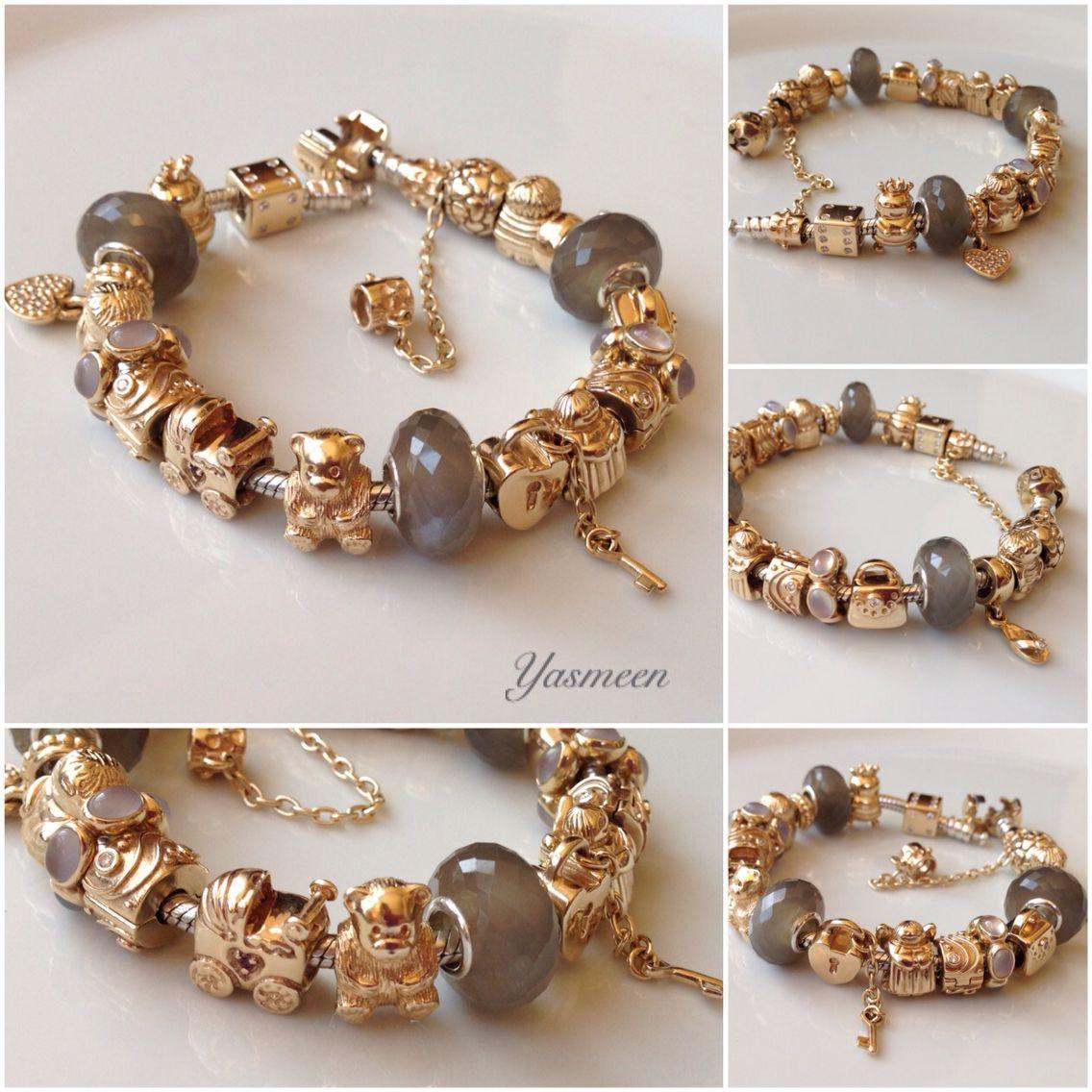 My gold pandora family bracelet with grey moonstone pulseras