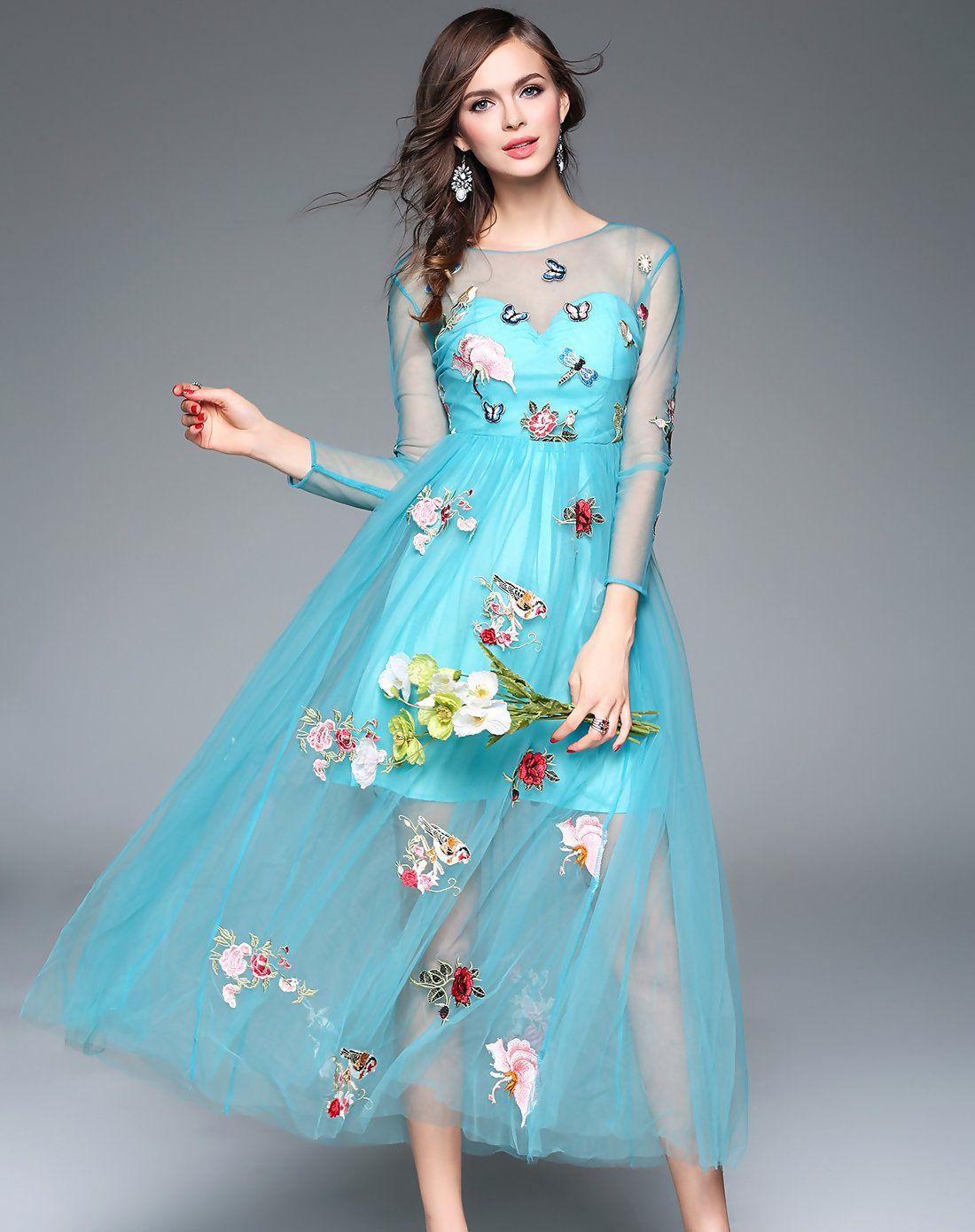 Blue Embroidery Elegant Party Maxi Dress   Party maxi dresses, Maxi ...
