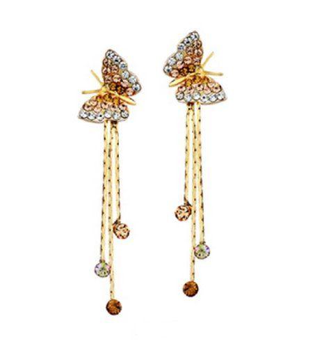 Long Gemstone Dangle earrings drop gold plated dangle Earrings Gold Plated Earrings