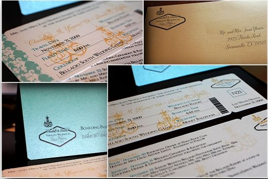 I designed this invitation for a client who is getting married in Las Vegas but is having a vintage/elegant theme, this boarding pass has the Welcome to Las Vegas sign modified to a prettier and more elegant version. These can also be modifies to a more traditional Vegas theme for no extra cost.
