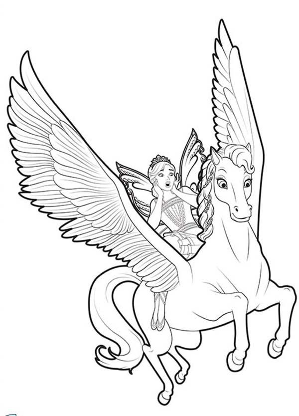 Unicorn coloring pages flying with fairy | UNICORN | Pinterest