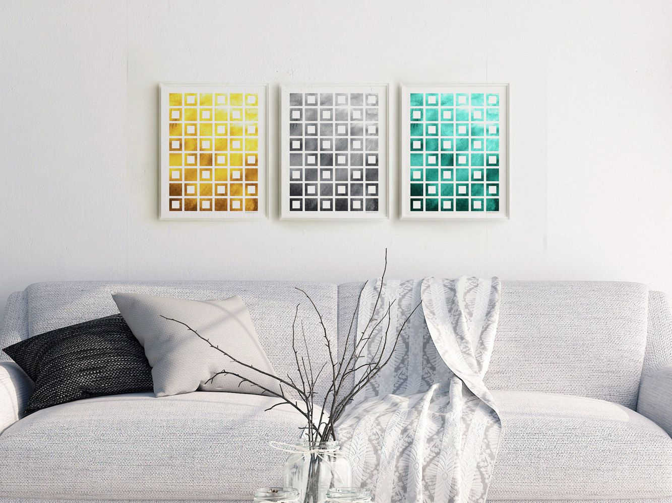 Geometric Print Set Download, 3 Piece Abstract Wall Decor, Printable  Triptych, Geometric Home