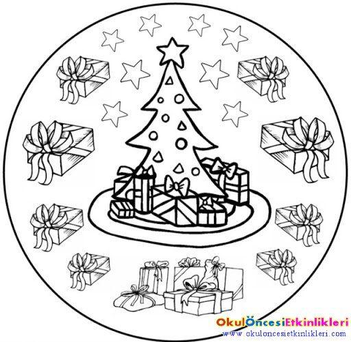 çocuklar Için Noel Mandala Boyama Karácsony 3 Pinterest