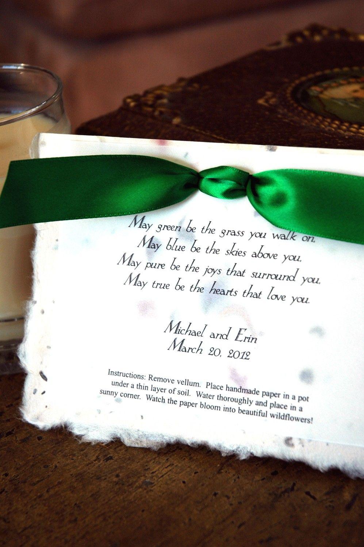 Irish Blessing / Wedding Party Favor / Eco Friendly / Plantable Poem ...