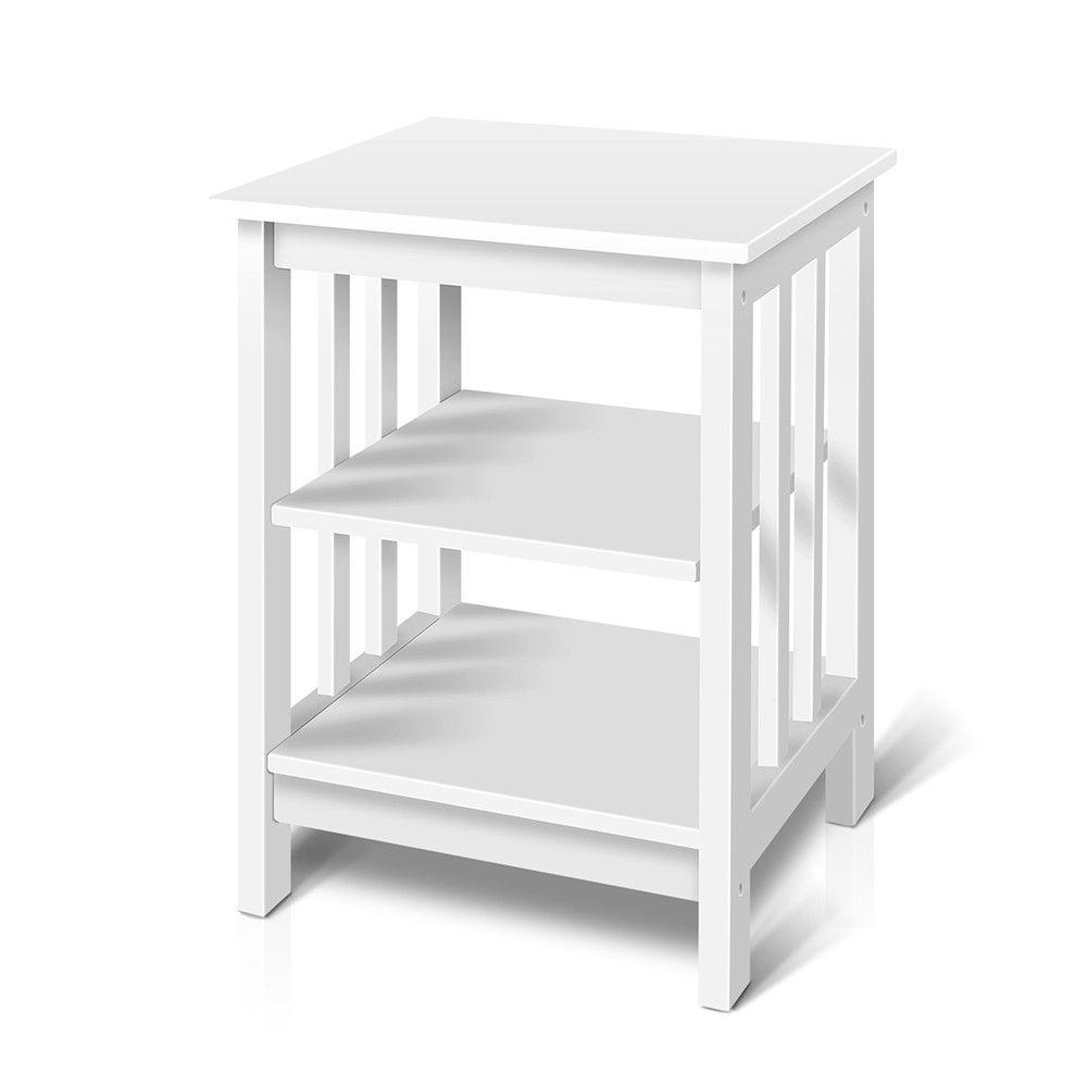 Wooden Bedside Table 3 Tier Storage Shelf Bedroom Home Office Table White Bedside Table Design White Side Tables Wooden Bedside Table