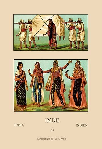 A Variety Of Indian Ceremonial Garb 3 By Auguste Racinet Art Print Postercrazed Art Art Prints Canvas