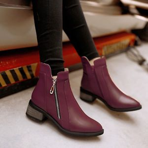 NEW Pointy TOE LOW Block Heel ZIP Ankle Boots Fashion Women S Combat Winter  Shoe |