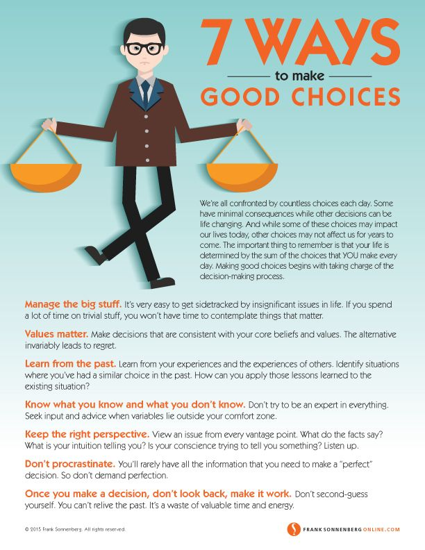We're all confronted by countless choices each day. Are you happy with the way that you make those decisions? Here are 7 Ways to Make Good Choices.