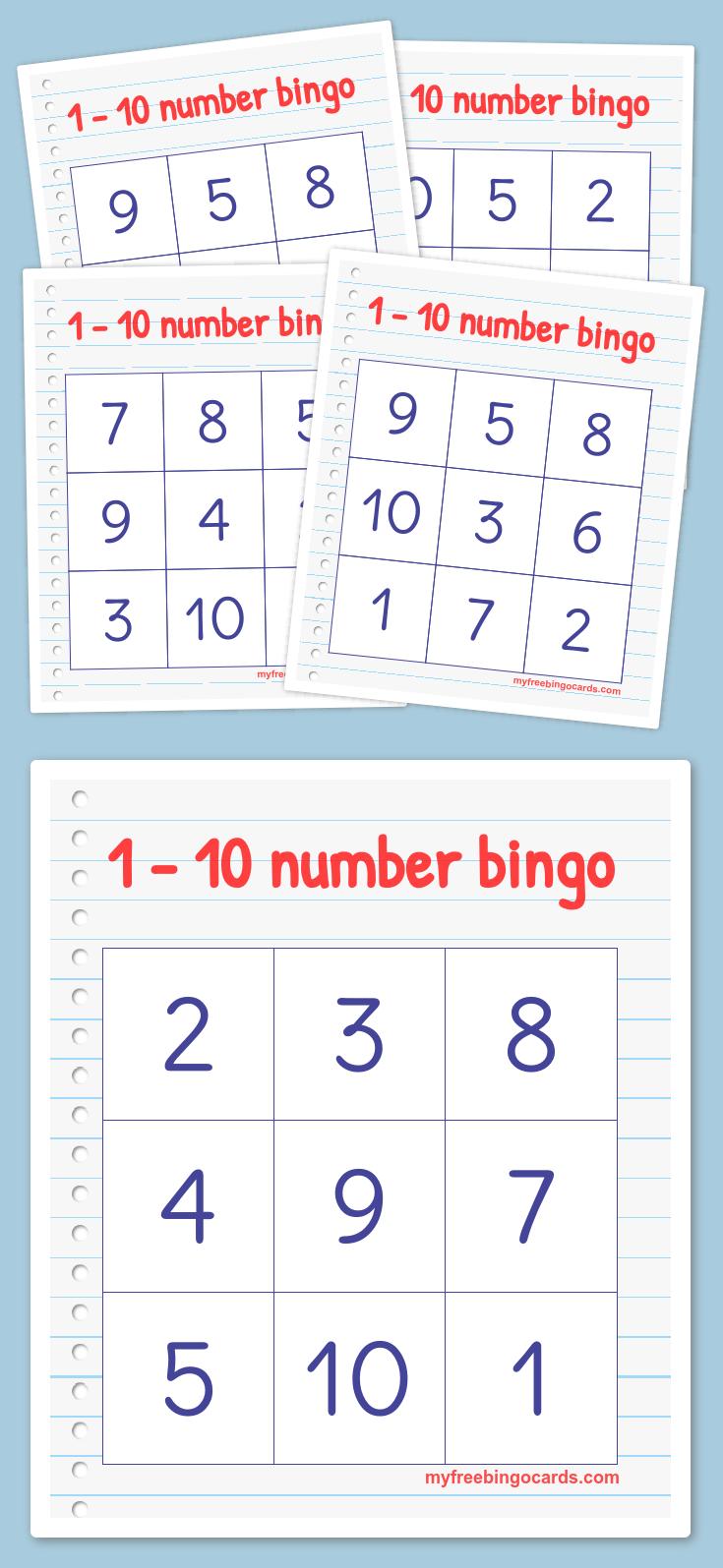Free Printable Bingo Cards | Free printable, Kindergarten and Number