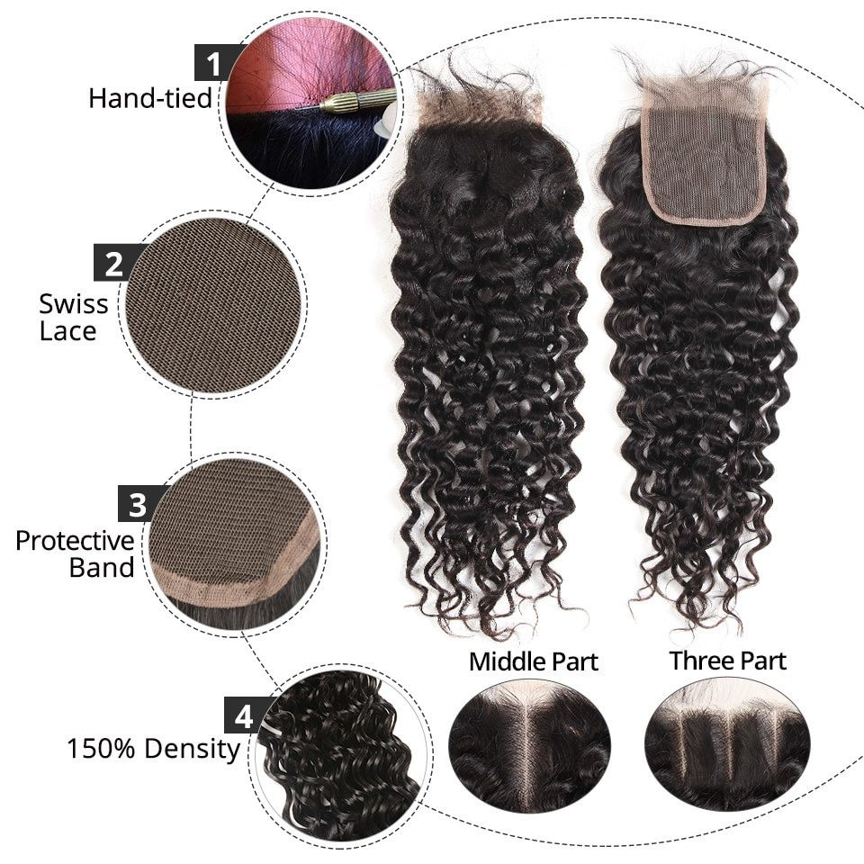3/4 Bundles With Closure Alipearl Human Hair Loose Wave Bundles With Frontal Pre Plucked Peruvian Hair Weave Bundles 3pcs Natural Color Remy Hair