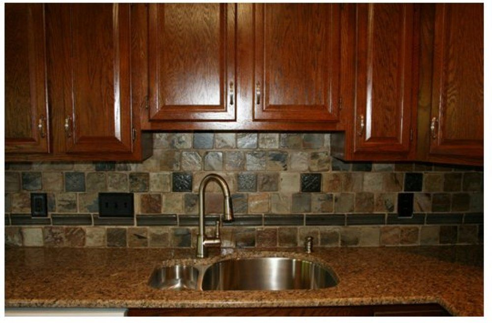 Here's A Beautiful Slate Tile Backsplash That Compliments The Dark Extraordinary Kitchen Backsplash Tile Designs Pictures 2018