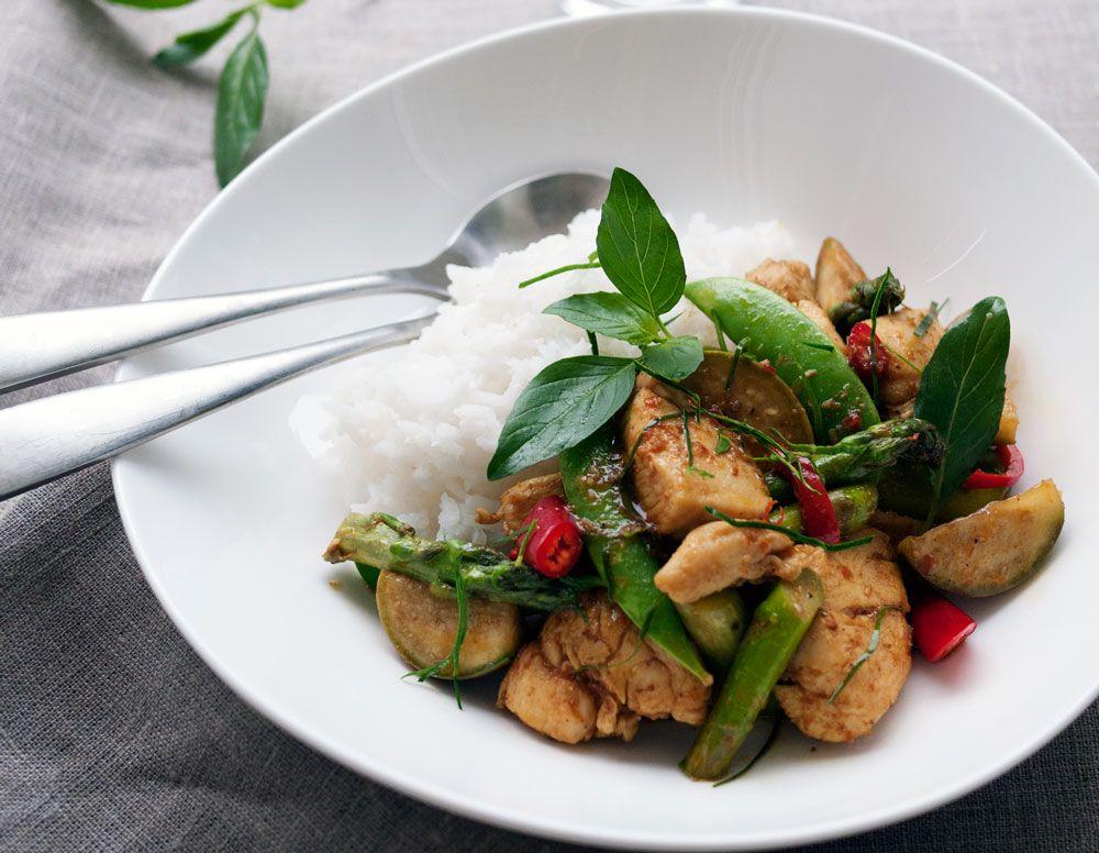 stekt kylling med red curry paste