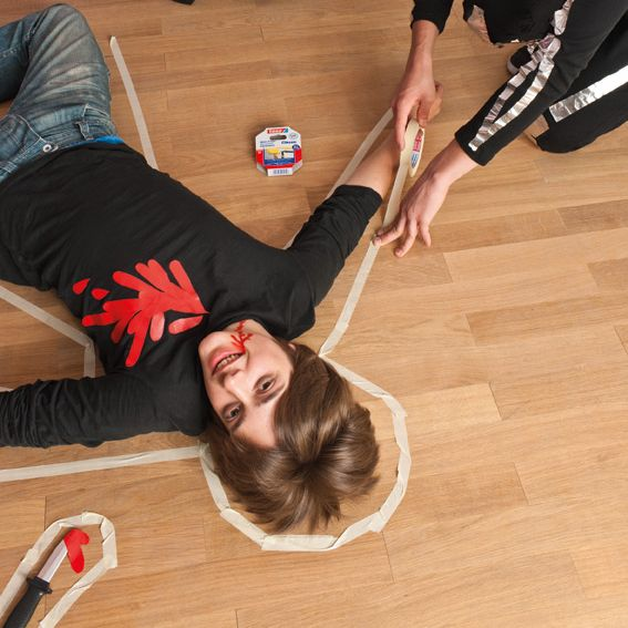 halloween party games painters tape crime scene                              …