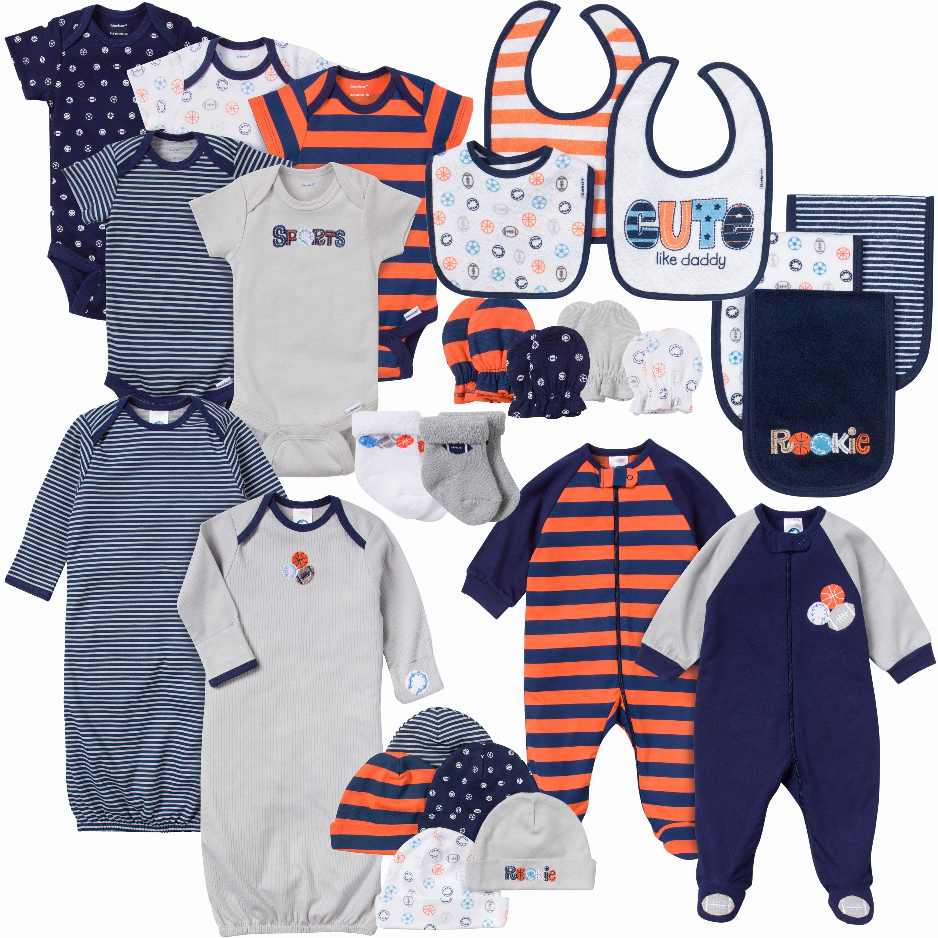 This 26-piece set for baby boy has everything a new mom needs! This 100% cotton set includes 5 Onesies® brand bodysuits, 2 Sleep N' Plays, 2 gowns, 5 knit caps, 4 mitten sets, 3 terry bibs, 3 terry burpcloths, and 2 sets of socks. Smart design features and soft fabric that keeps baby comfy are sure to make this set a big hit with mom and baby!
