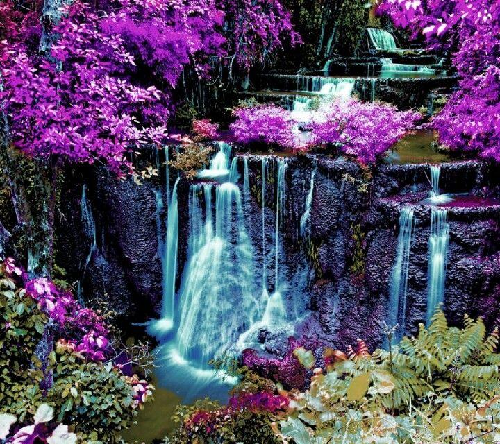 Kuang Si Falls Hd Wallpaper Waterfall With Purple Background Waterfalls Beautiful