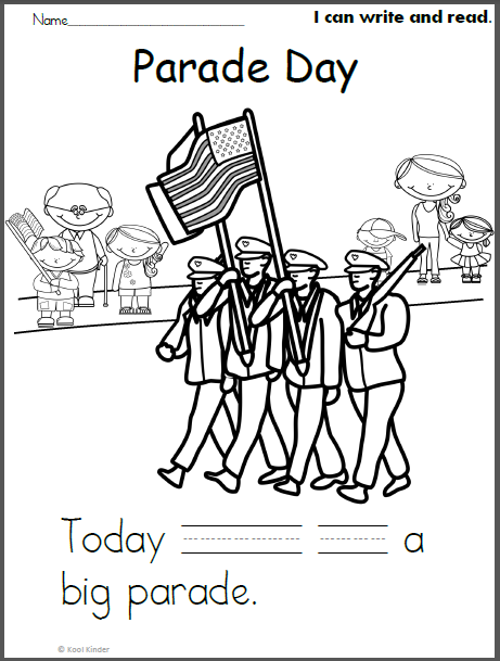Free Memorial Day Parade Write, Read, Color Page