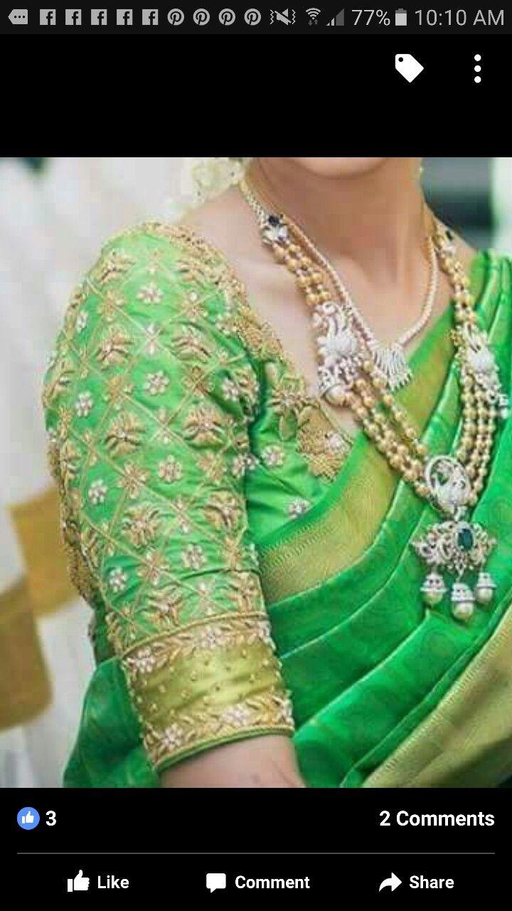 3 4 sleeve silk saree blouse designs blouse sleeve design  blouse images  pinterest  blouse designs