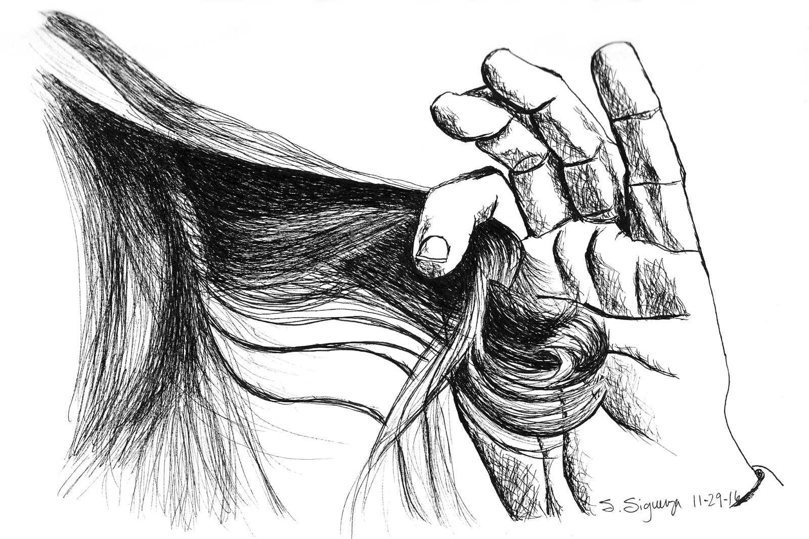 Line Drawing Holding Hands : Drawing of hand pulling hair pen holding