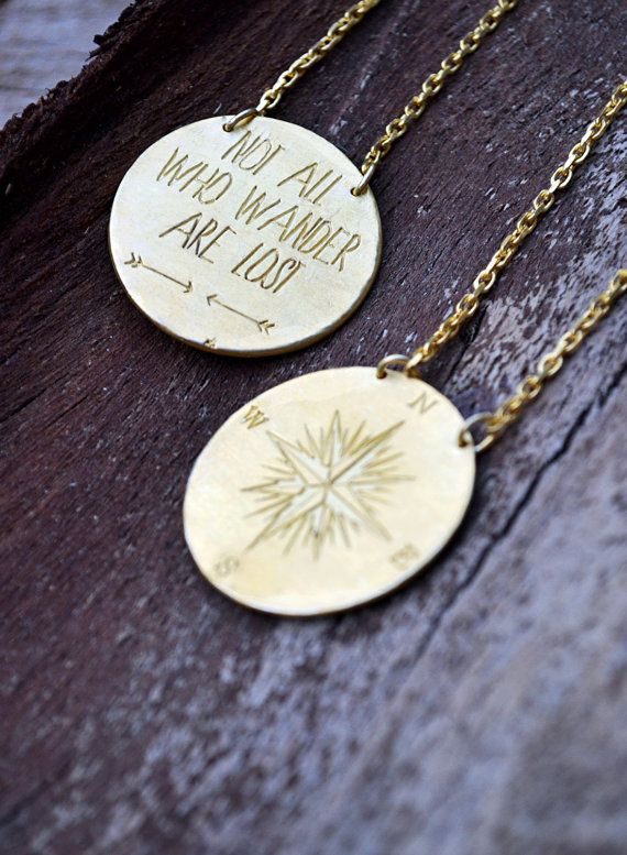 Compass Necklace / Large Pendant With Quote / Not All Who