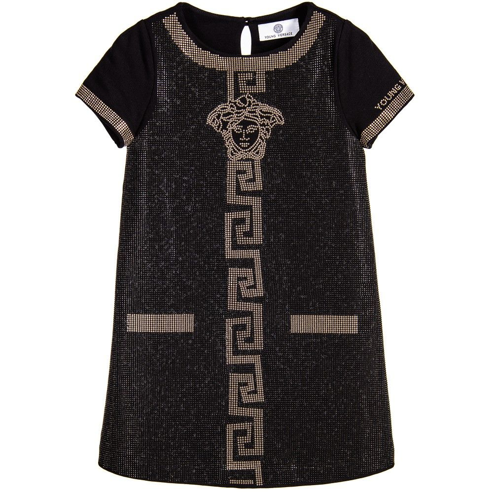 Young Versace Black Studded Cotton Logo Dress With Gold