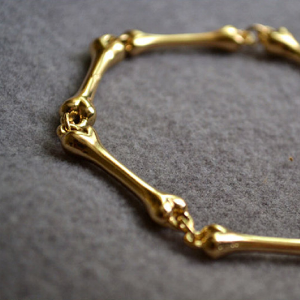 Golden Skeleton Hand Bone Bracelet