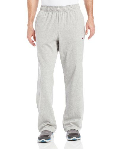 Champion Men/'s Open Bottom Jersey Pants Gym w// Pockets Authentic Light Weight