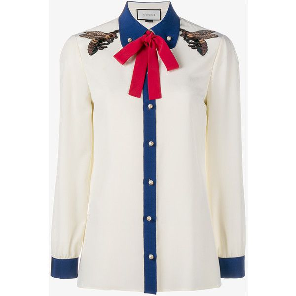 8621ec2e6c88 Gucci Bee Embroidered Silk Shirt (5,455 CNY) ❤ liked on Polyvore featuring  tops, blouses, silk top, cuff shirts, embroidery shirts, shirt blouse and  retro ...
