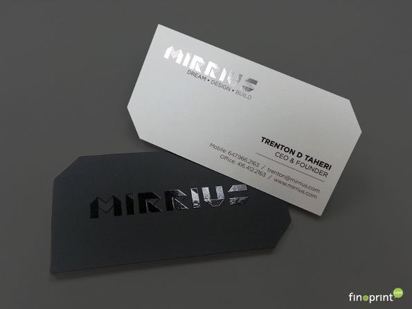 These die cut business cards for mirrius were printed by finoprint these die cut business cards for mirrius were printed by finoprint on silk laminated stock the cards feature spot uv and foil accents colourmoves Images
