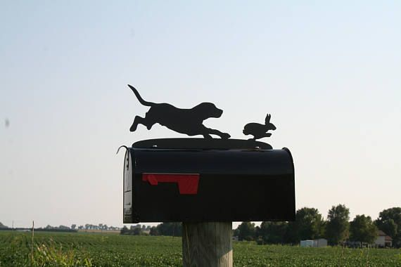 Metal Beagle Hunting Dog Chasing Rabbit Mailbox Topper Beagle