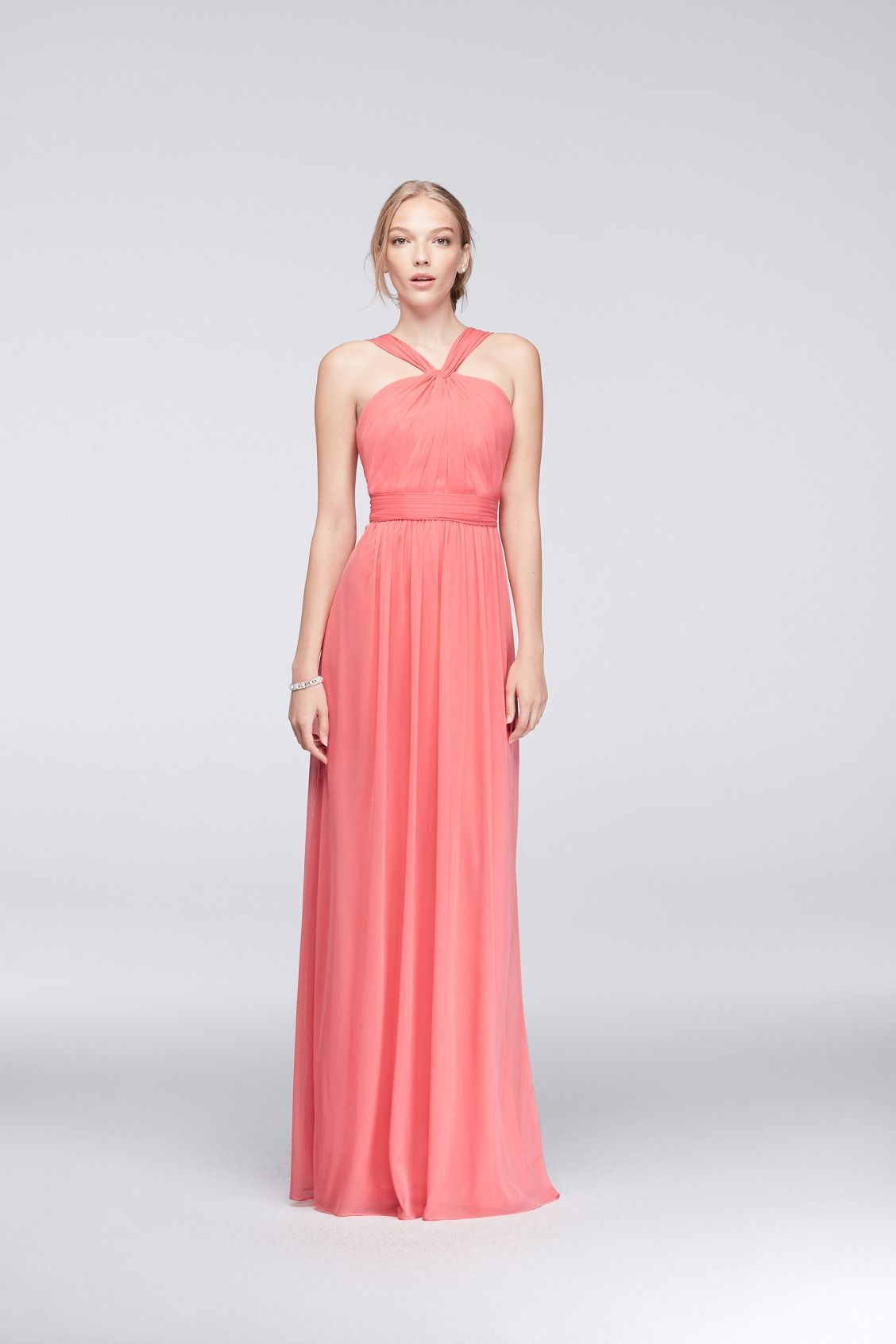 C Y Neck Long Mesh Bridesmaid Dress From David S Bridal