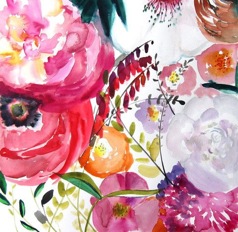 Bloom - The newest piece in my series of abstract florals - repeindre du papier peint