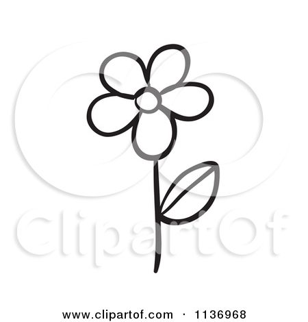 Cartoon Of A Black And White Daisy Flower Royalty Free Vector