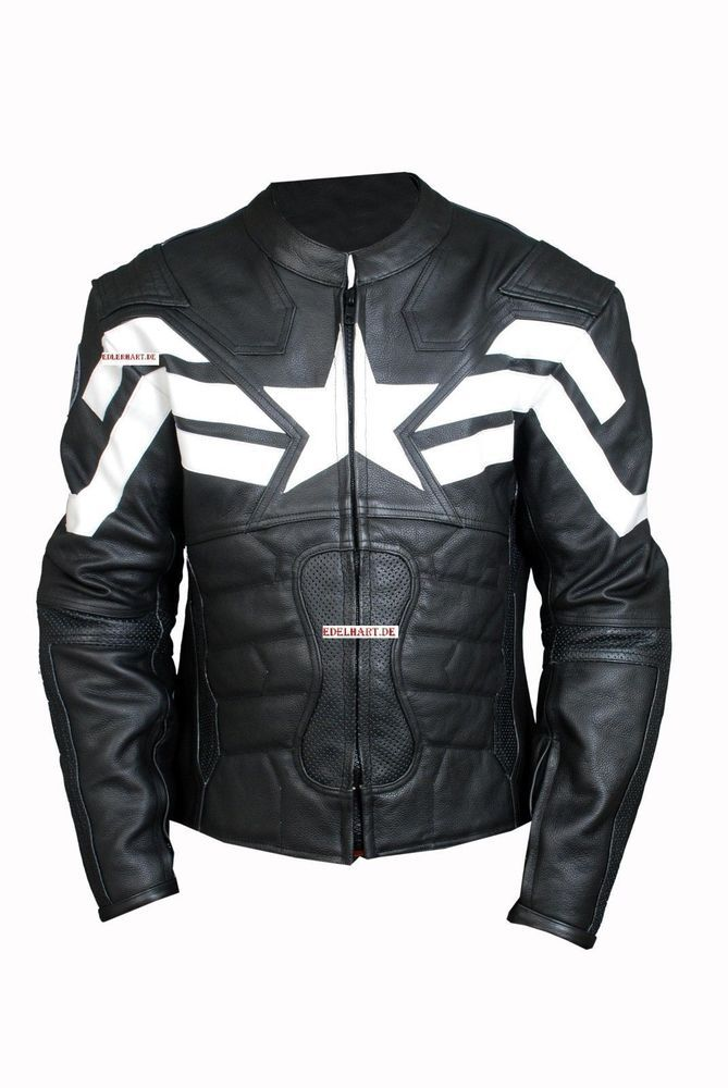 Captain America leather motorcycle jacket the winter soldier Leather Pearl  Black Designed by edelhart Exclusive design Real Leather Captain America  jacket ...