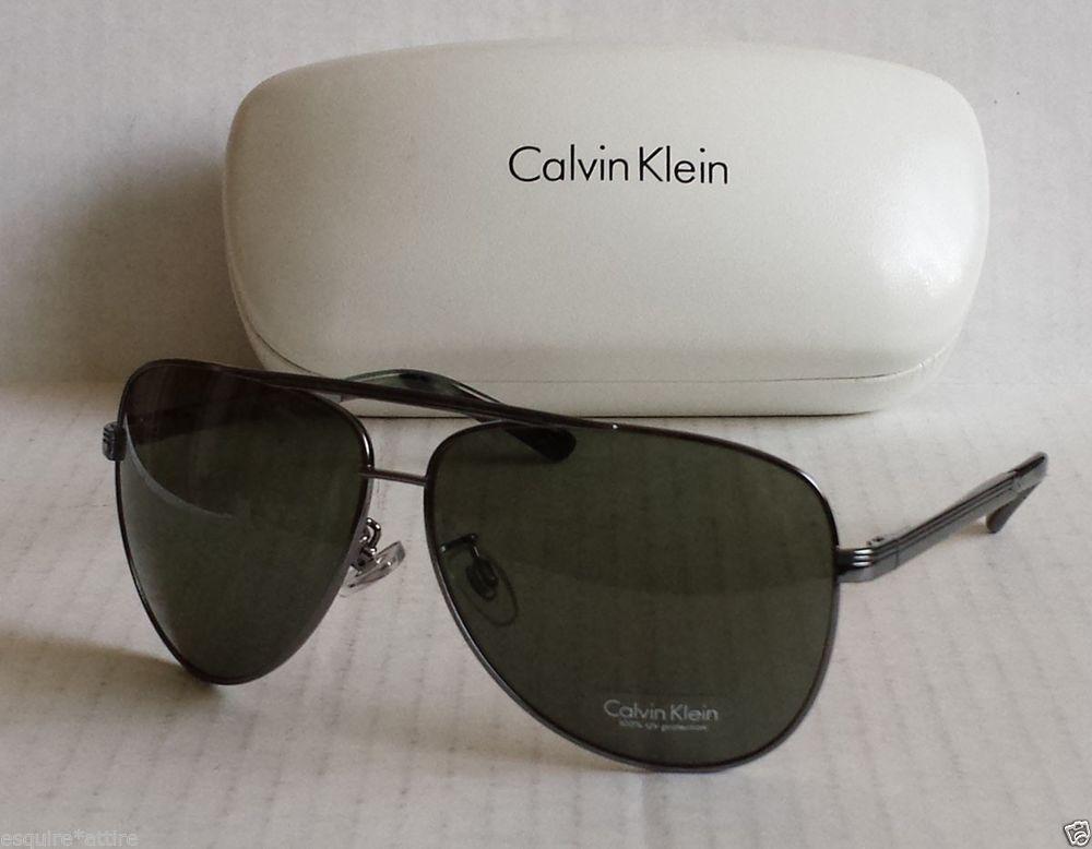58bd121185 Calvin Klein men aviator sunglasses R122 silver metal frame black lenses w
