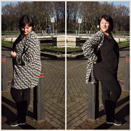 vest, zwart met wit, grote maten dameskleding, Anne's Fashion