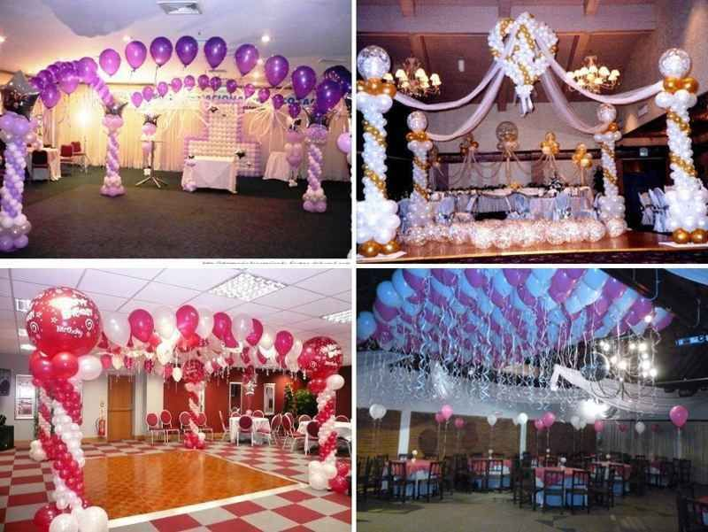 Decoracion para fiestas de 15 a os con globos y telas 4 for Decoracion pared salon original