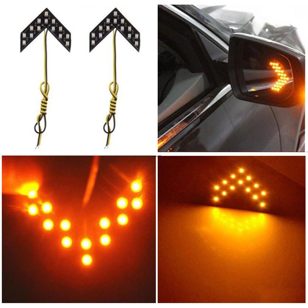 Car Styling Turn Signal Lights Car Singal Lamp 14 Smd Led Arrow Panels For Car Rear View Mirror Indicator Lights Yellow Light Rear Mirror Car Rear View Mirror Indicator Lights