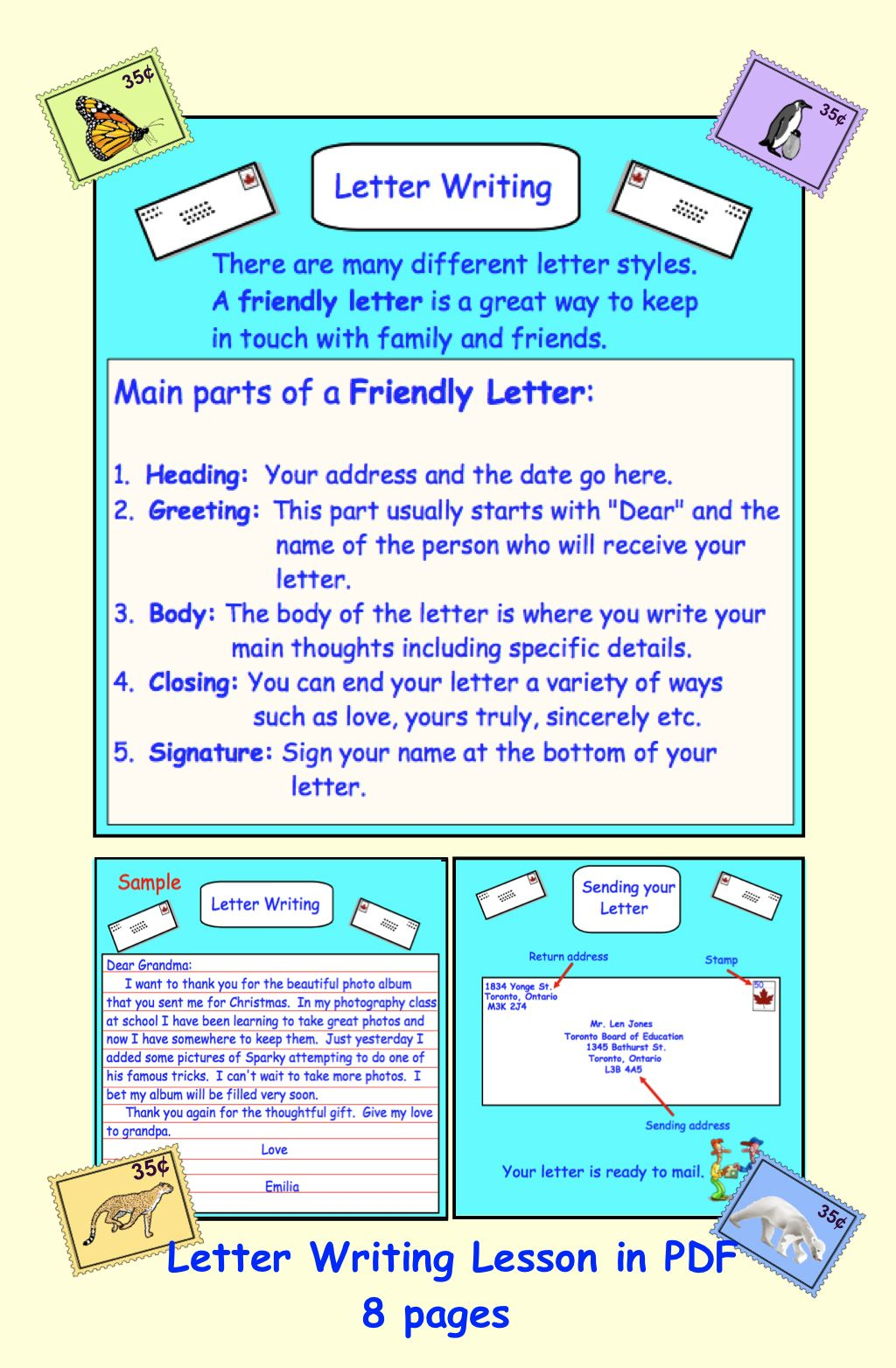 Letter Writing (Friendly/Business) PDF Teaching writing