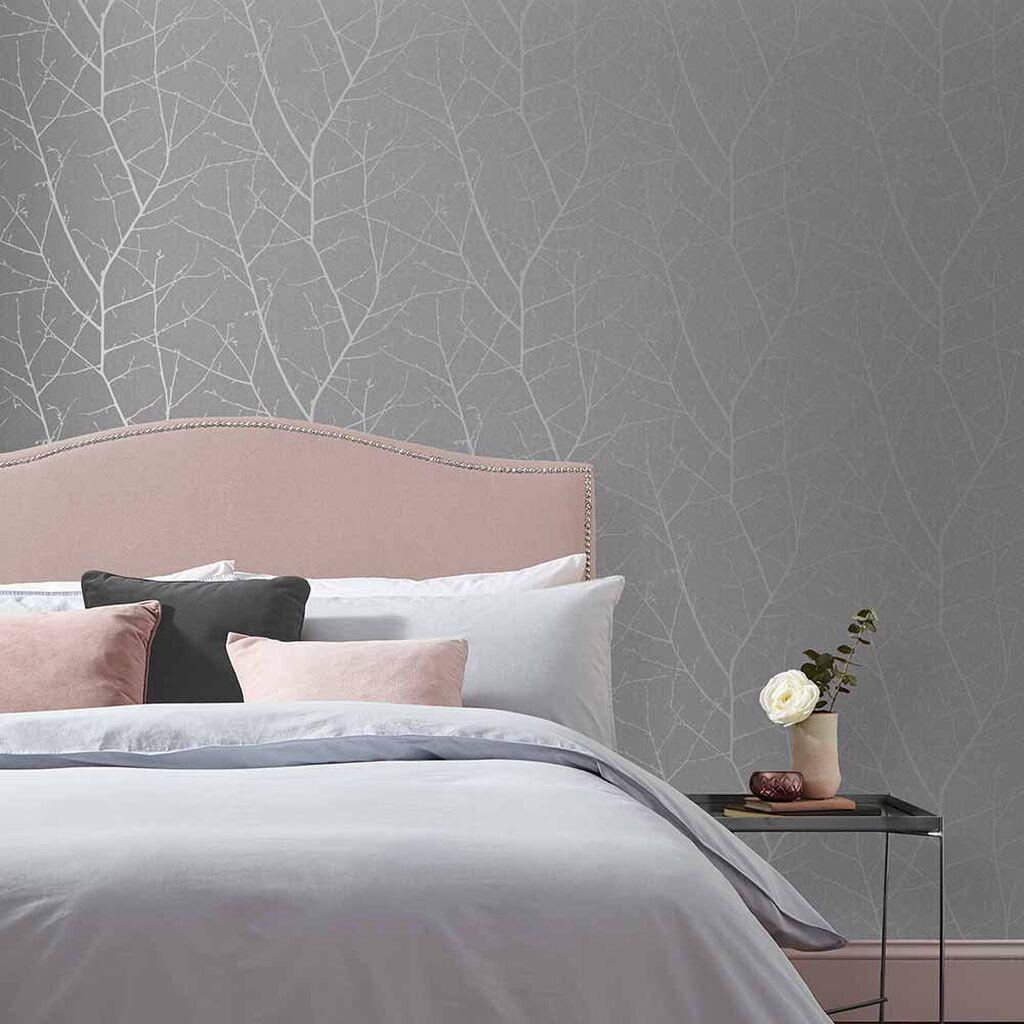 Boreas Deep Grey Wallpaper in 12  Grey wallpaper bedroom, Grey