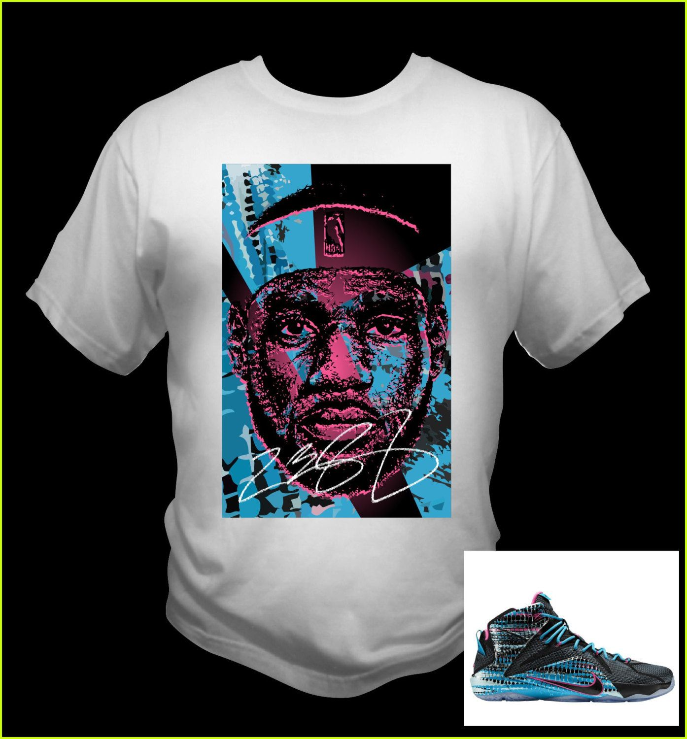 afa24e147 Lebron James 12 White T-Shirt Black/Pink Pow/Blue Lagoon Theme Made to  Match Shoes by NuelifeGraphics on Etsy