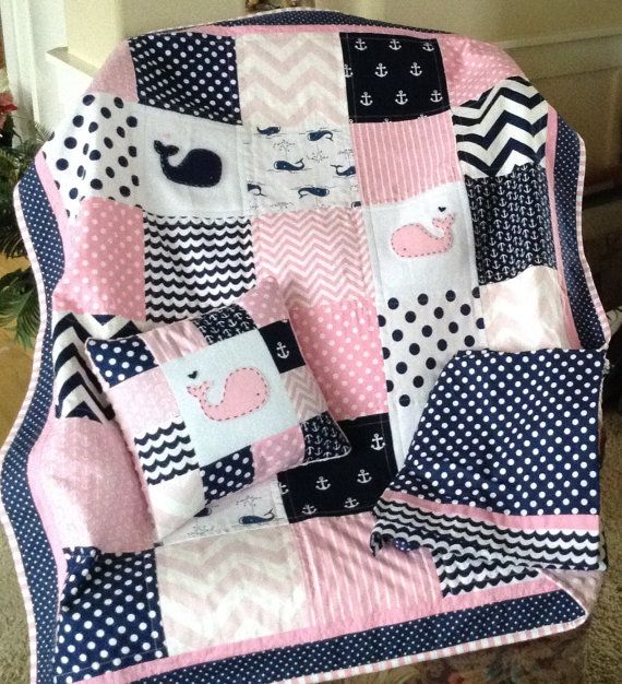 PINK NAVY WHALE Quilt Set/Nautical quilt set by Lovesewnseams