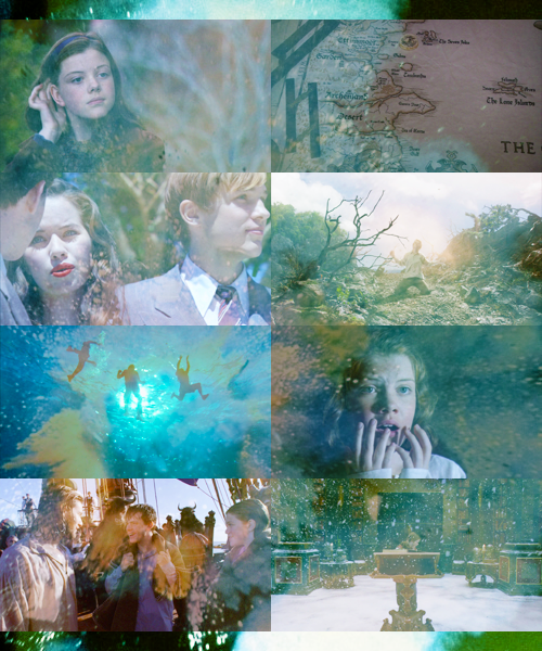 Narnia - The Voyage of the Dawn Treader << One thing I noticed that I actually laughed at is that Lucy practices the hand motion, pushing her hair behind her ear, and in the end, Caspian does it when his hair is in his face. I doubt they planned that, but it's funny.