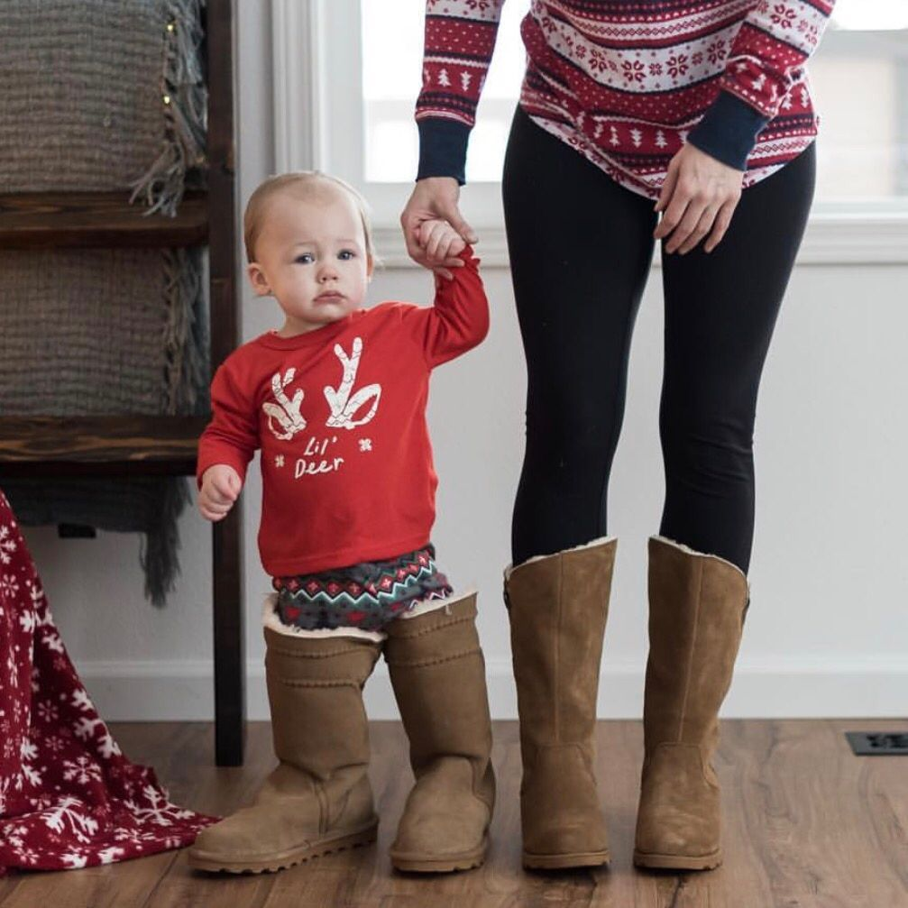 Oh baby 💕 Mr. Mason sporting the #BearpawLea with his mommy, Danielle in the #BearpawHayden 👢🐻🐾 (📸 by @raisinglittle_h) Shop the Lea: https://bearpaw.com/lea Shop the Hayden:https://bearpaw.com/hayden  #livelifecomfortably #bearpawstyle