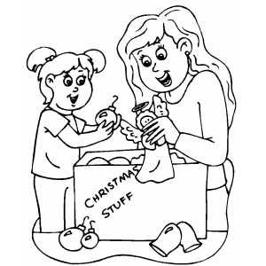 Mom And Daughter Christmas Ornaments Daughter Christmas Christmas Ornament Coloring Page Christmas Ornaments