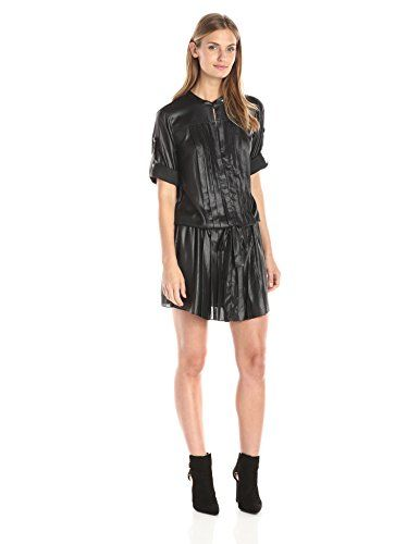 BCBGMax Azria Womens Alyn Pleated Tent Dress with Neck Tab Black XSmall -- Be sure to check out this awesome product.