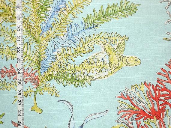 "Aqua ocean fabric beach fabric coastal fabric red coral fabric turtle fabric blue lagoon cottage decor fabric FREE SHIPPING  45"""
