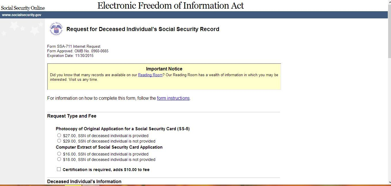 Electronic Request For Deceased IndividualS Social Security