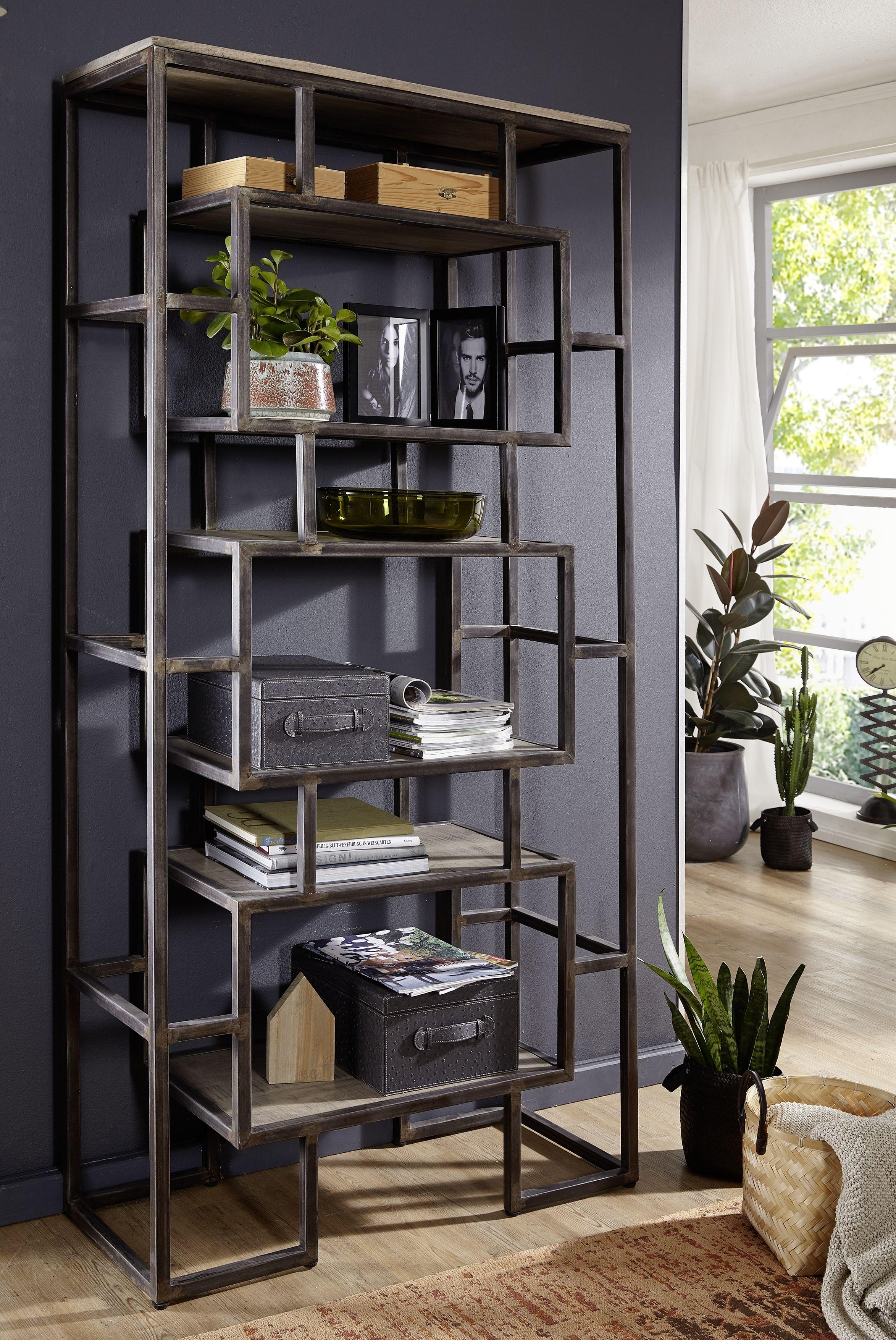regal der reihe heavy industry gefertigt aus mangoholz mit eisenelementen nat rlich lackiert. Black Bedroom Furniture Sets. Home Design Ideas